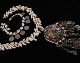 N9311 - Vintage  Kuchi Tribal Shell Necklace & Anklet Set - Afghani Ethnic Boho Statement Necklace and Ankle Bracelet