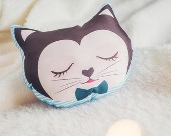 Cat face mini cushion, kitty pillow, nursery decor, sleepy cat