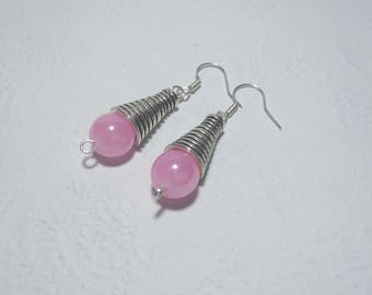 Pink beads and Silver earrings
