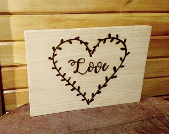 Love Heart Wood Burning