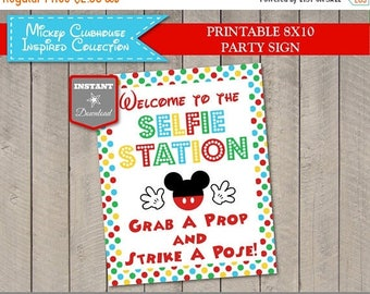SALE INSTANT DOWNLOAD Mouse Clubhouse Welcome to the Selfie Station 8x10 Party Sign / Grab a Prop / Clubhouse Collection / Item #1693