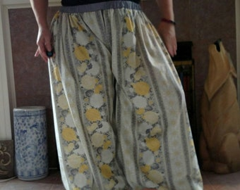 Grey, Yellow, and White Floral Cotton Fabric Pantaloons
