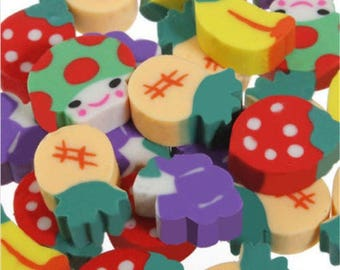 20 x Fruit & Vegetable Erasers - Novelty Correction Supplies. Children's Craft Stationery. Ideal for Party Bags and School Pencil Case