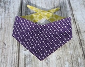 Xs Kanine Kerchief reversible tie on bandanna - Purple arrows/Green abstract feathers