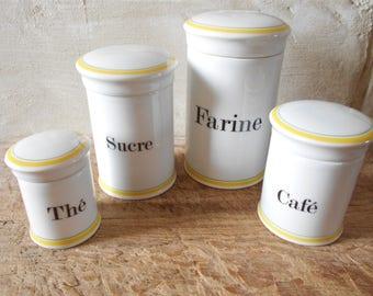 Beautiful set of 4 French antique porcelain canisters, Chauvigny porcelain cylinder jars  flour sugar coffee tea pots, kitchen decor.