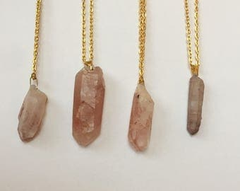 Red and White Quartz Crystal Point Gold Necklace