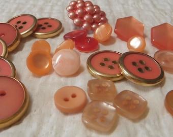 SALE!! *** 26 Shades of Peach, Salmon, Tangerine, Copper  Button Lot