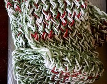 White, Red, Brown, Sage Green Scarf