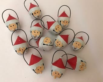 Santa Claus Bells (12) 1 Dozen Christmas Tree Ornaments- Hand Painted