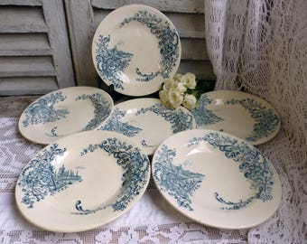Set of 6 Antique french teal transferware soup plates. Teal transferware. Castle Windmill Church. French chateau. Louis XV style