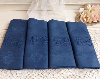 Set of 4 antique french linen silk damask napkins. Hand dyed royal blue. Monogram RB. French table linen.