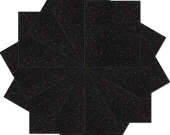 "Pre-cut Sheets Glitter Heat Transfer Vinyl - Black - 12 Sheets - 10""x12"""