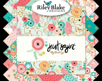 "Riley Blake Fabrics - Just Sayin' by My Mind's Eye Rolie Polie 2.5"" Fabric Quilting Strips Jelly Roll 40 count RP-6890-40"