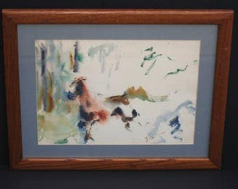 Running Horse Watercolor Painting Signed by Artist Framed