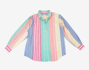 Vintage Pastel Rainbow Striped Button Up