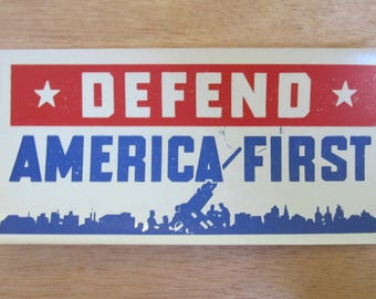 Patriotic 1940's World War II Defend America First Decal Sticker - Free Shipping