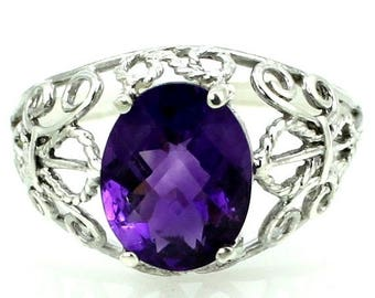 On Sale, 20% Off, Amethyst, 925 Sterling Silver Ring, SR162