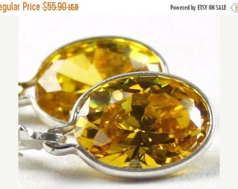 On Sale, 30% Off, Golden Yellow CZ, 925 Sterling Silver Leverback Earrings, SE101