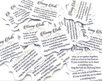 Kissing Bell tags • Wedding Bell Tags Wedding Favors • Quatrefoil Shape