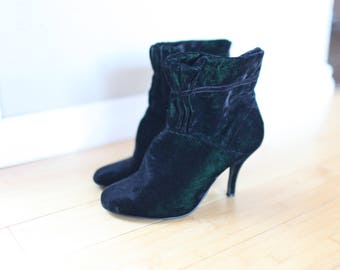 vintage victorian green & black crushed velvet mary poppins ankle boots womens 6 1/2