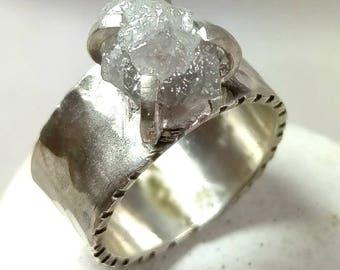 Raw diamond Ring, 4.9 Carat Rough  Diamond Engagement Ring, Silver and large diamond ring. diamond statement ring