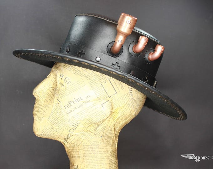 Steampunk Hat - Top Hat - Leather Hat