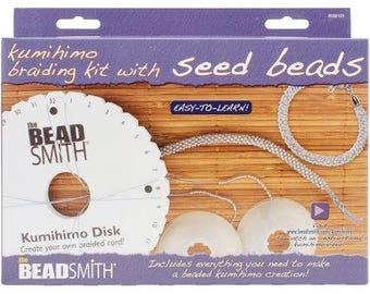 KUMIHIMO BRAIDING KIT with Seed Beads