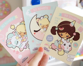 Chic Kawaii set of 3 cute and lovely lamitated postcards.