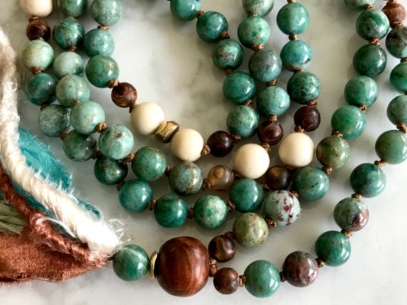 108 Peruvian Opal Mala Beads, Buddhist Prayer Beads, Knotted Mala,  Dzi, Rosewood, Riverstone Tassel Necklace for Healing, Protection