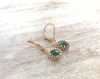 SALE Gold earrings, emerald earring, dangle earrings, dainty earrings, deep emerald, gold and green, vintage earrings -F8