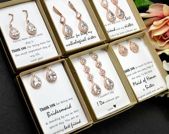 rose gold silver Crystal Bridal Earrings Wedding earrings Long Bridal earrings Bridesmaids gifts  Wedding Jewelry Long Crystal Stud Earrings