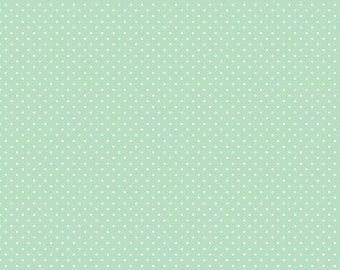 new color ... White Swiss Dot on Mint Yardage by Riley Blake Designs - C670-Mint