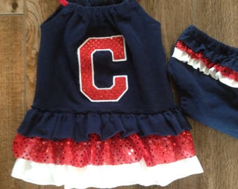 Cleveland Indians inspired ruffle dress only (size 3 or larger)