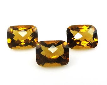 Natural Whiskey Quartz Emerald Cut 10x8mm Checkerboard Top Nice Luster (4086)