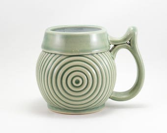 Concentric Circle Mug / Handmade Ceramic Mug in Green Celadon / 18 oz