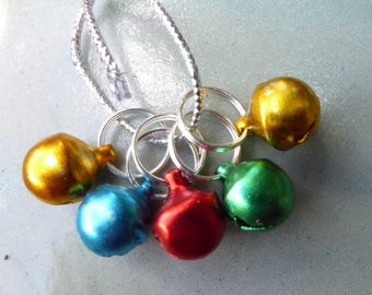 STITCH MARKERS, CHRISTMAS bells, gold, green, red, turquoise, 5, Mollycoddle Yarns Indie wool dyer, gift, present, knitter, handmade