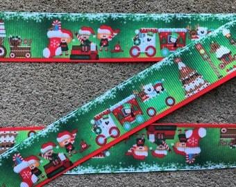 "3 yards Gingerbread Christmas Train 1"" Gingerbread Ribbon Ginger House Grosgrain Ribbon Hair Bow Ribbon Christmas Ribbon Candy Cookie Ribbon"