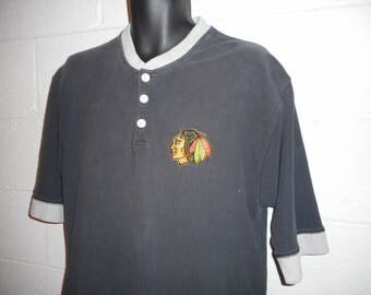 Vintage Chicago Blackhawks Polo Rugby Shirt Large