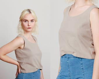 1990s Beige Khaki Cropped Tank Top - Minimalist - Stretchy - Neutral • M