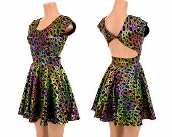 Poisonous Print Metallic Twist Back Scoop Neck Cap Sleeve Fit and Flare Skater Skate Dress Rave Clubwear EDM - 155104