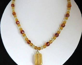 ON SALE! Amber Glass Necklace Vintage Pendant Necklace, Amber, Gold and Clear Bead Boho Costume Jewelry Gift Idea