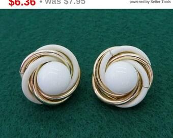 ON SALE! Trifari White Gold Swirl Earrings Vintage Designer Signed Clip on Earrings Costume Jewelry Gift Idea