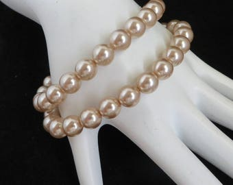 Faux Pearl Bracelet Pair, Vintage Stretch Bead Bracelets, Cream Bead Bracelet Duo