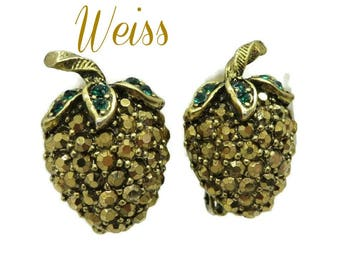 Weiss  Strawberry Earrings  Vintage Signed Weiss Gold Tone Green Rhinestone Clip-on Earrings, FREE SHIPPING