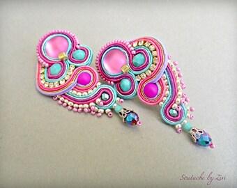 Teal Fuchsia Long Stud Earring, Short Soutache Earring, Fuchsia Pink Clip on earring, Wedding Guest Bridal Jewelry, Multicolor Purple Stud