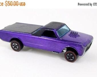 ON SALE Vintage Hot Wheels Redline Custom Fleetside Toy Car Purple Mattel 1967