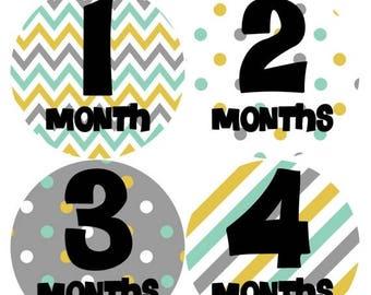 Monthly Baby Milestone Stickers Baby Boy Baby Shower Gift One-Piece Baby Stickers Monthly Baby Stickers Baby Month Sticker 249