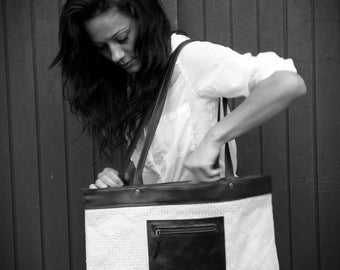 straw Tote and black cowhide leather