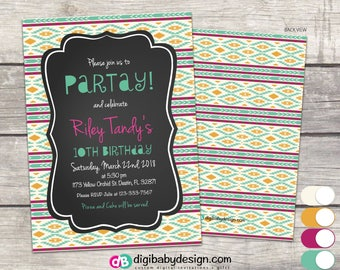 tribal Birthday Party Invitation in chalkboard teal pink and gold tribal aztec, printable digital files