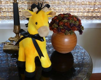 Giraffe Stuffed Animal/Yellow Fleece Plushie/Jungle Animal/African Safari Toy/Gift for Kids/Gift under 30/Ready to ship/Hypo allergenic/kids